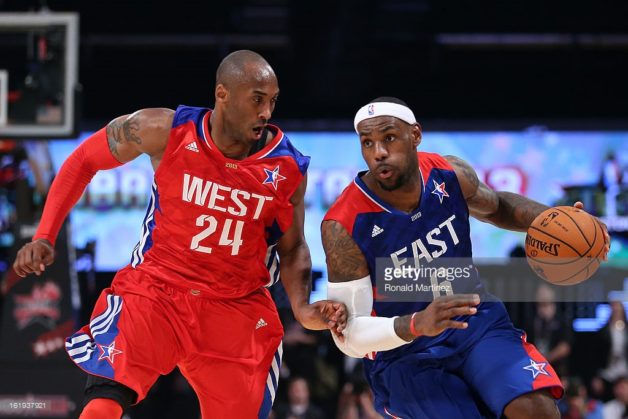 HOUSTON, TX - FEBRUARY 17: LeBron James #6 of the Miami Heat and the Eastern Conference drives on Kobe Bryant #24 of the Los Angeles Lakers and the Western Conference during the 2013 NBA All-Star game at the Toyota Center on February 17, 2013 in Houston, Texas. NOTE TO USER: User expressly acknowledges and agrees that, by downloading and or using this photograph, User is consenting to the terms and conditions of the Getty Images License Agreement. (Photo by Ronald Martinez/Getty Images)