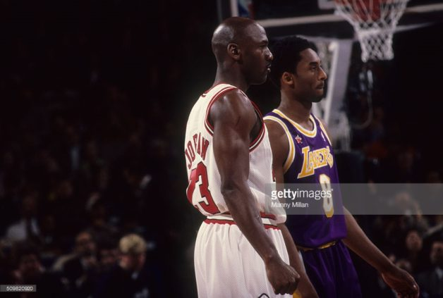 NBA All-Star Game: Los Angeles Lakers Kobe Bryant (8) and Chicago Bulls Michael Jordan (23) on court during All Star Weekend at Madison Square Garden. New York, NY 2/8/1998 CREDIT: Manny Millan (Photo by Manny Millan /Sports Illustrated/Getty Images)