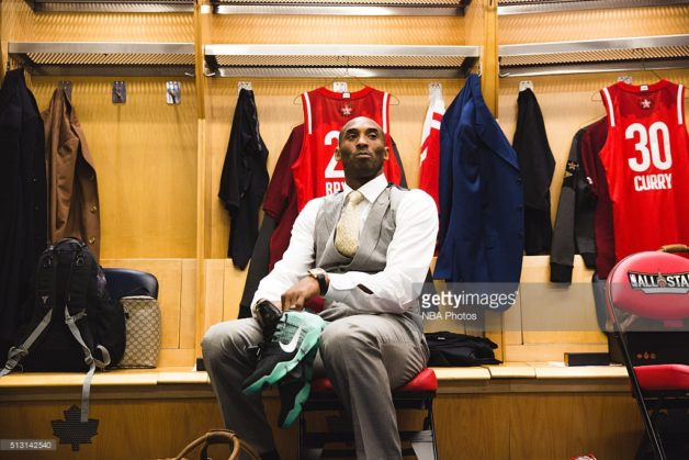TORONTO, CANADA - FEBRUARY 14: Kobe Bryant of the West team in the locker room prior to the NBA All-Star Game as part of the 2016 NBA All-Star Weekend on February 14, 2016 at Air Canada Centre in Toronto, Ontario, Canada. NOTE TO USER: User expressly acknowledges and agrees that, by downloading and/or using this photograph, user is consenting to the terms and conditions of the Getty Images License Agreement. Mandatory Copyright Notice: Copyright 2016 NBAE (Photo by Charlie Lindsay/NBAE via Getty Images)